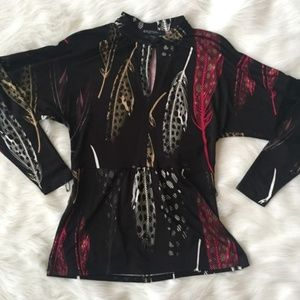 Etcetera Silk Feather Print Long Sleeve Blouse